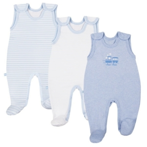 3 db kék ujjatlan rugdalózó TINY BABY
