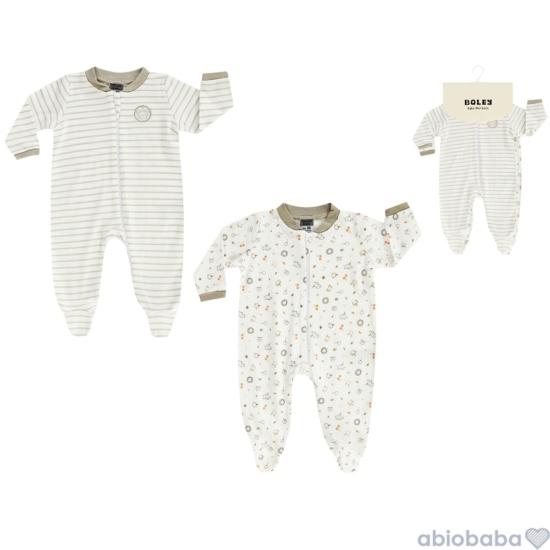 2 db-os fehér-drapp uniszex baba pizsama BOLEY