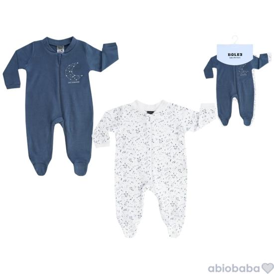 2 db-os kék bolygómintás plüss baba pizsama BOLEY