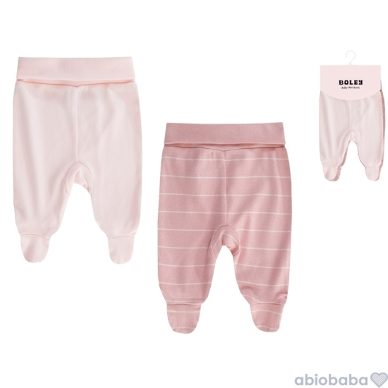 2 db-os rózsaszínű talpas baba nadrág csomag BOLEY