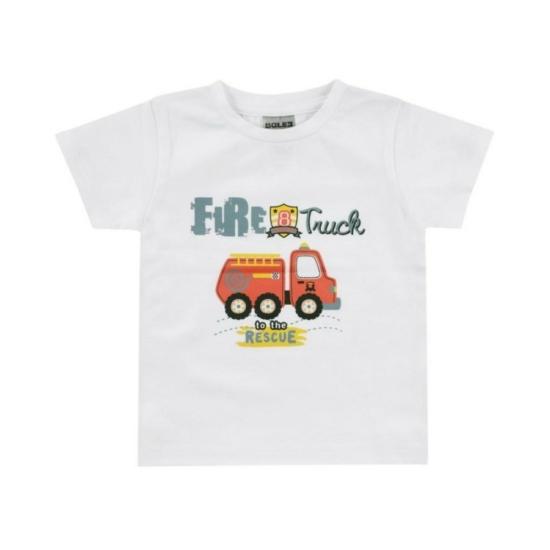 Boley Basic fehér rövid ujjú póló, tűzoltó autó mintával