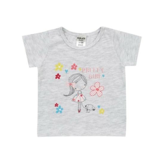 Boley Basic világosszürke melírozott rövid ujjú póló, kislány mintával