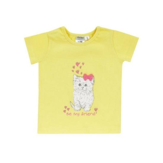 Boley Basic sárga rövid ujjú póló cicás mintával