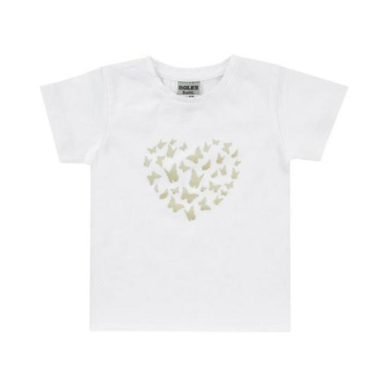 Boley Basic fehér rövid ujjú póló, arany lepke mintával