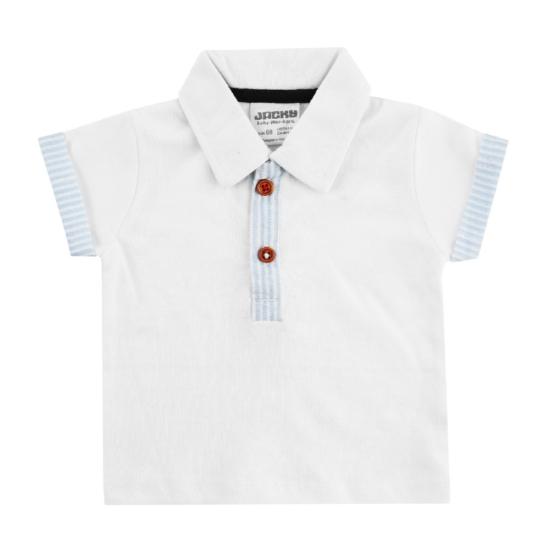 Galléros fehér rövid ujjú póló CLASSIC BOYS