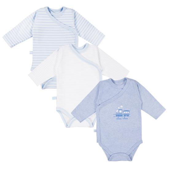 3 db kék átlapolós baba body TINY BABY