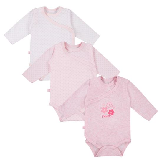 3 db rózsaszínű átlapolós baba body TINY BABY