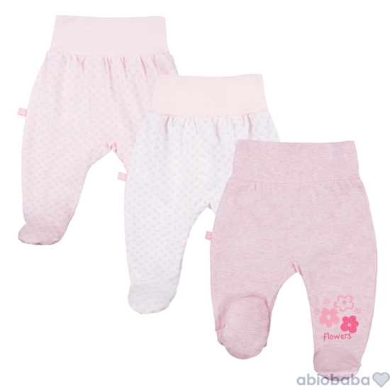 3 db rózsaszínű és fehér talpas újszülött nadrág TINY BABY