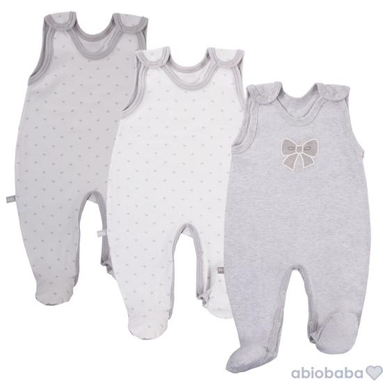 3 db szürke ujjatlan baba rugdalózó TINY BABY