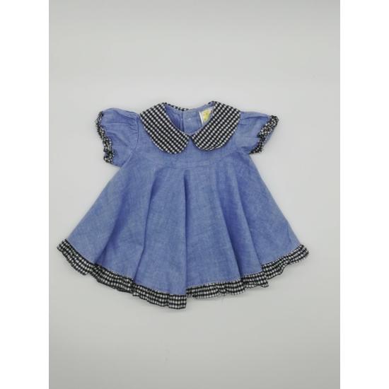 Kék galléros vászon ruha