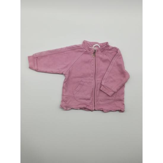 Rózsaszín zsebes cipzáros kardigán