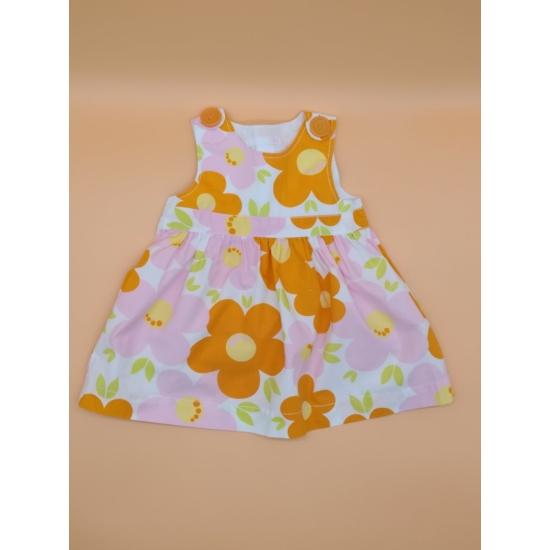 Narancs-rózsaszín virágos nyári ruha