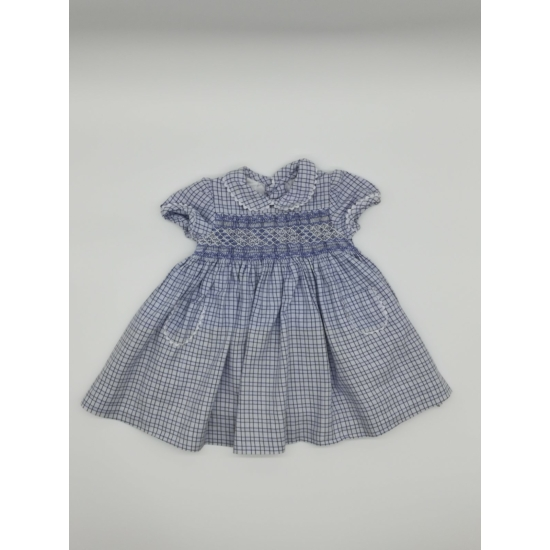 Kék kockás, galléros ruha