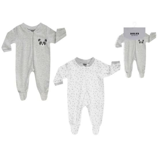 Boley Basic 2 db-os frottír uniszex pizsama csomag szürke-fehér színben