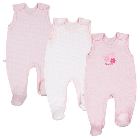 3 db rózsaszín ujjatlan baba rugdalózó TINY BABY