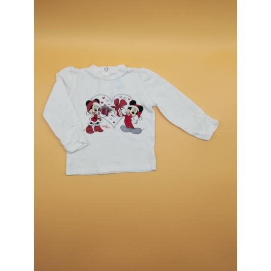 Fehér Minnie-Mickey egeres karácsonyi felső