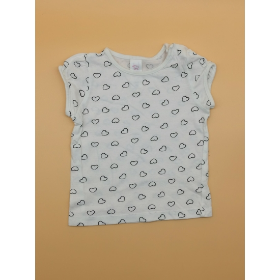 Fehér-sötétkék szívecskemintás rövid ujjú póló