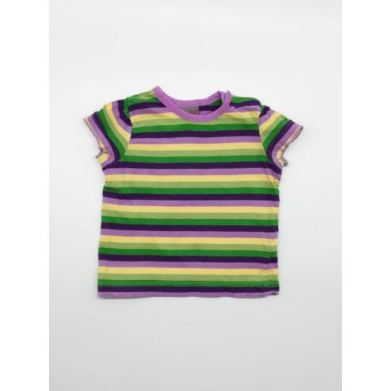 Lila-zöld-sárga csíkos rövidujjó póló