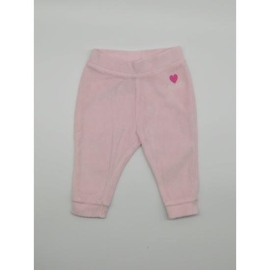 Rózsaszínű plüss nadrág szívecskével