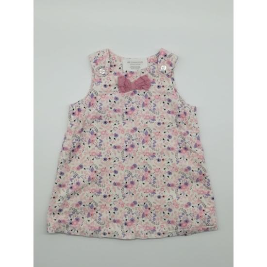 Fehér kordbársony ruha lila-rózsaszín mintával