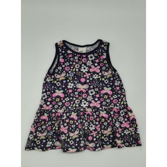 Sötétkék virágmintás nyári ruha