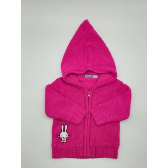 Pink kötött kapucnis kardigán