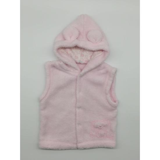 Rózsaszín kapucnis szőrmés mellény