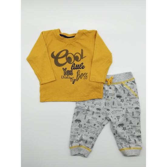 Sárga felső + szürke nadrág szett