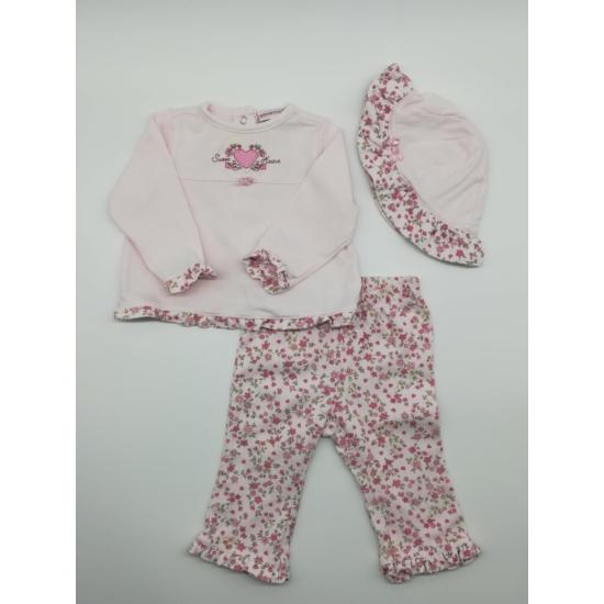 Rózsaszínű virágos felső + nadrág + kalap szett