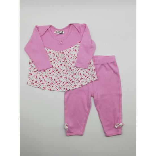 Rózsaszínű virágmintás felső + nadrág