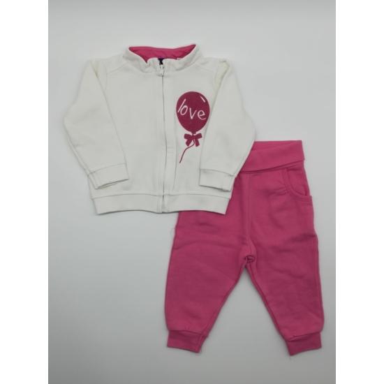 Fehér cipzáras melegítő felső + pink melegítő alsó