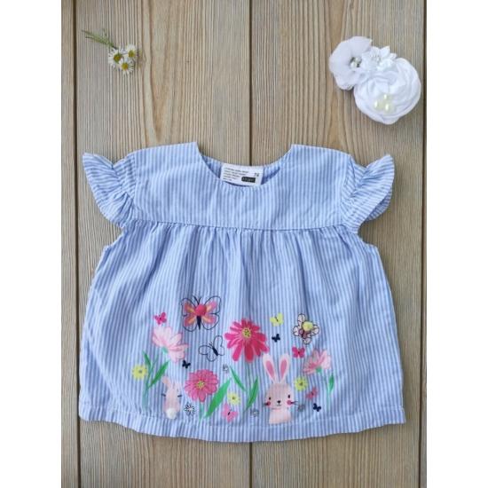 Kék-fehér csíkos, virágos nyári pamutblúz