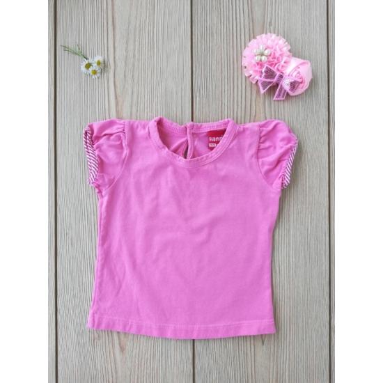 Pink színű rövid ujjú póló, csíkos szegéllyel