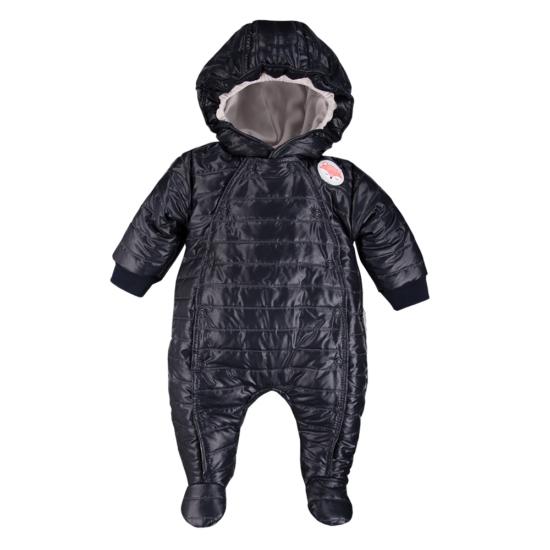 Bélelt sötétkék kapucnis baba overál ADVENTURE