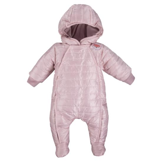 Bélelt világos rózsaszínű kapucnis baba overál ADVENTURE