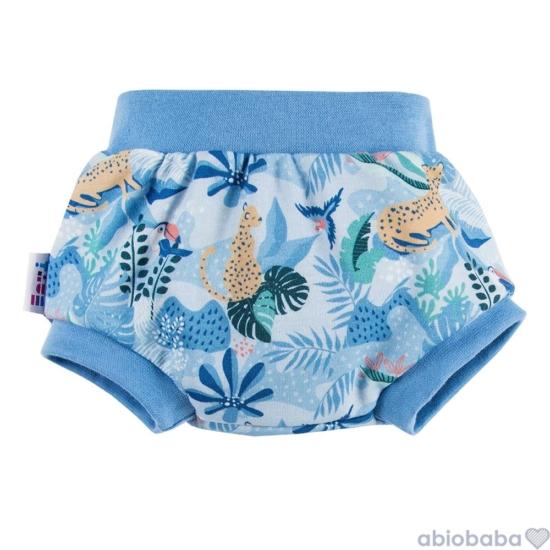 Dzsungel mintás kék baba napozó bugyi NATURE