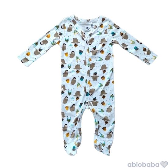 Fehér alapon pinvin mintás baba pizsama PINGUIN