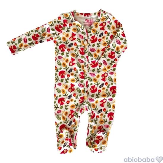 Fehér alapon róka mintás baba pizsama RED FOX
