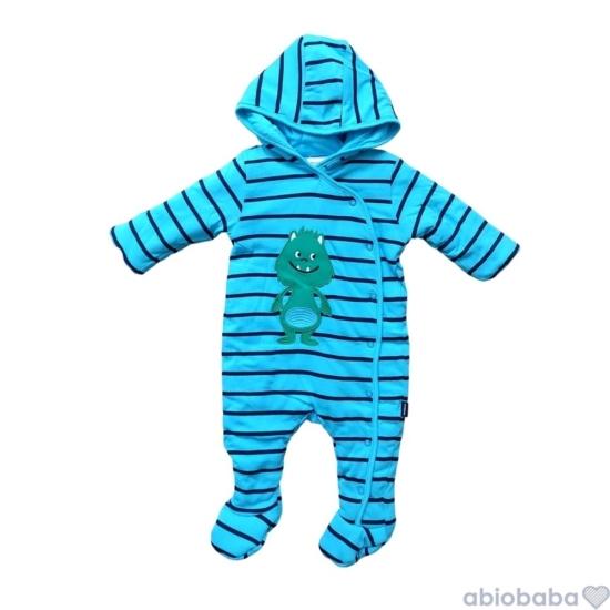 Kék csíkos szörnyecskés bélelt baba overál