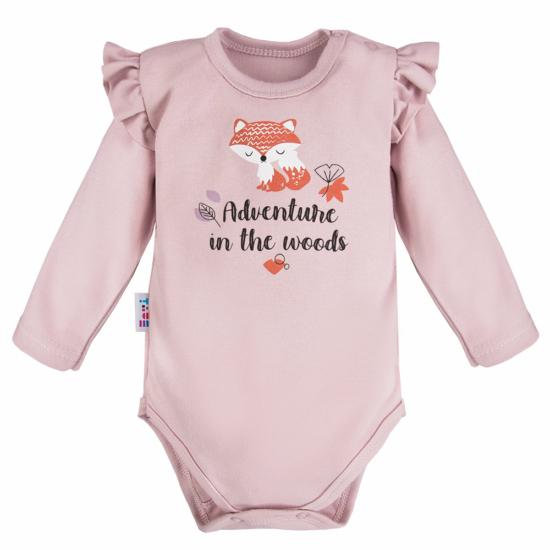 Lilás rózsaszínű róka mintás baba body ADVENTURE