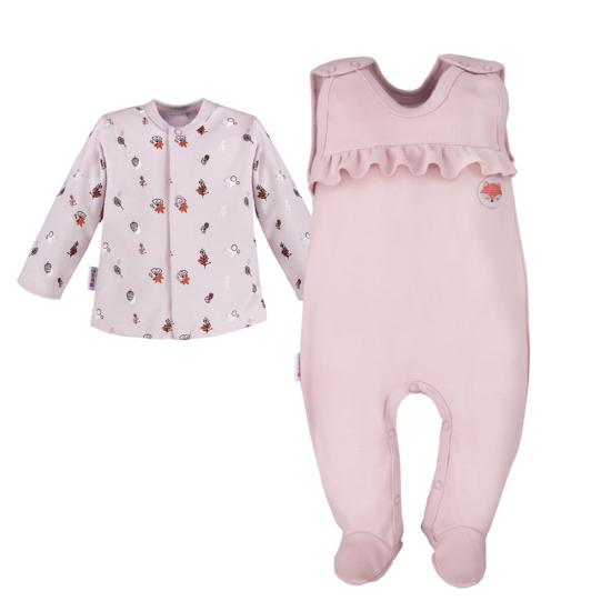 Lilás rózsaszínű ujjatlan fodros rugdalózó mintás baba kabáttal ADVENTURE