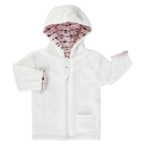 Puha kifordítható kapucnis baba kabát PANDA LOVE