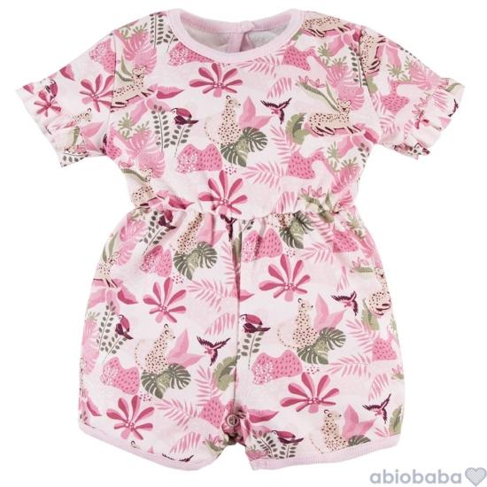Rózsaszínű dzsungel mintás baba napozó NATURE