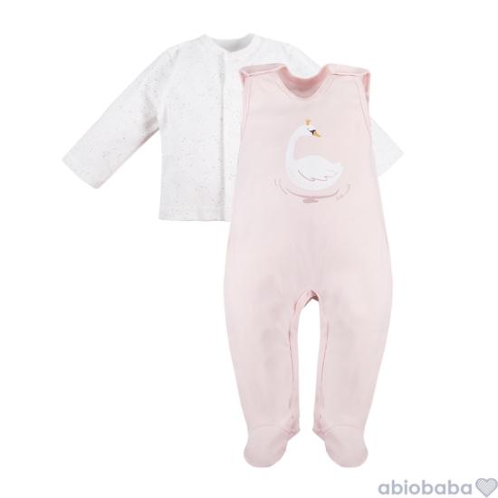 Rózsaszínű hattyús ujjatlan rugdalózó fehér pöttymintás baba kabáttal SWAN