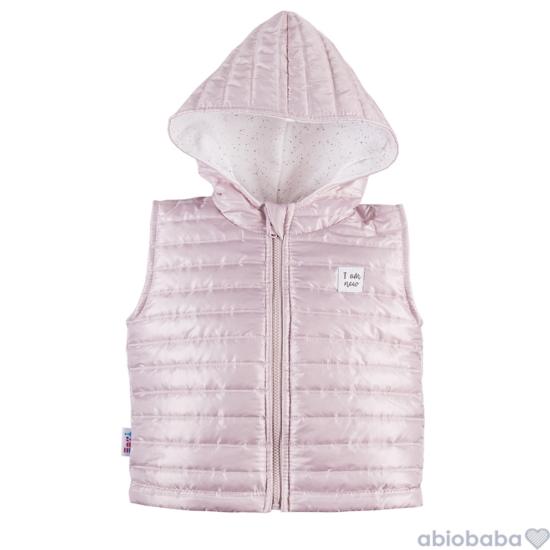 Rózsaszínű steppelt kapucnis baba mellény SWAN