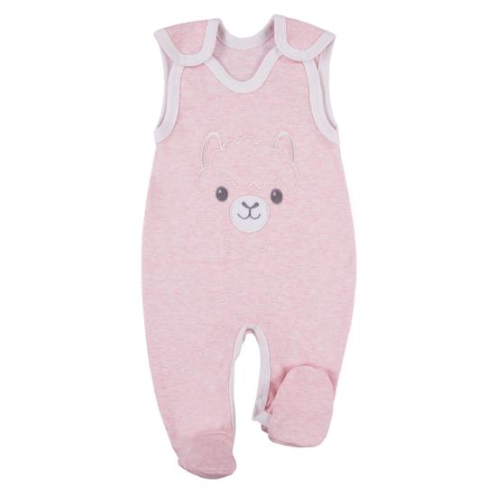 Rózsaszínű ujjatlan újszülött rugdalózó BABY LOVE