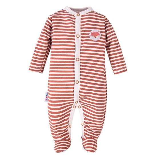 Rozsdapiros csíkos baba pizsama ADVENTURE