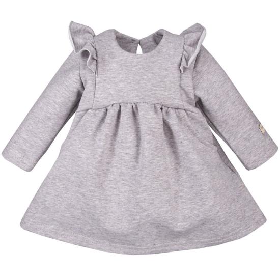 Szürke hosszú ujjú, fodros vállú kislány ruha SIMPLY COMFY