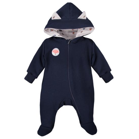 Vékonyan bélelt sötétkék kapucnis baba overál ADVENTURE