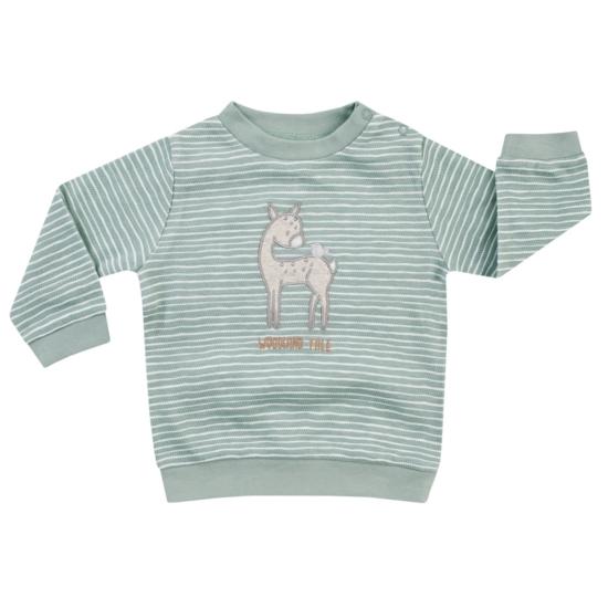 Zöld-fehér csíkos őzikés kisgyermek pulóver WOODLAND TALE
